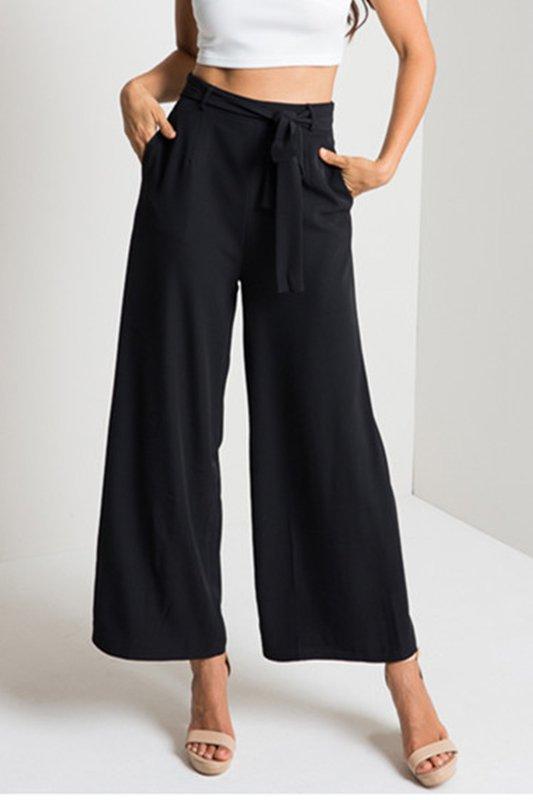 Belt High Rise Waist Wide Leg Pant