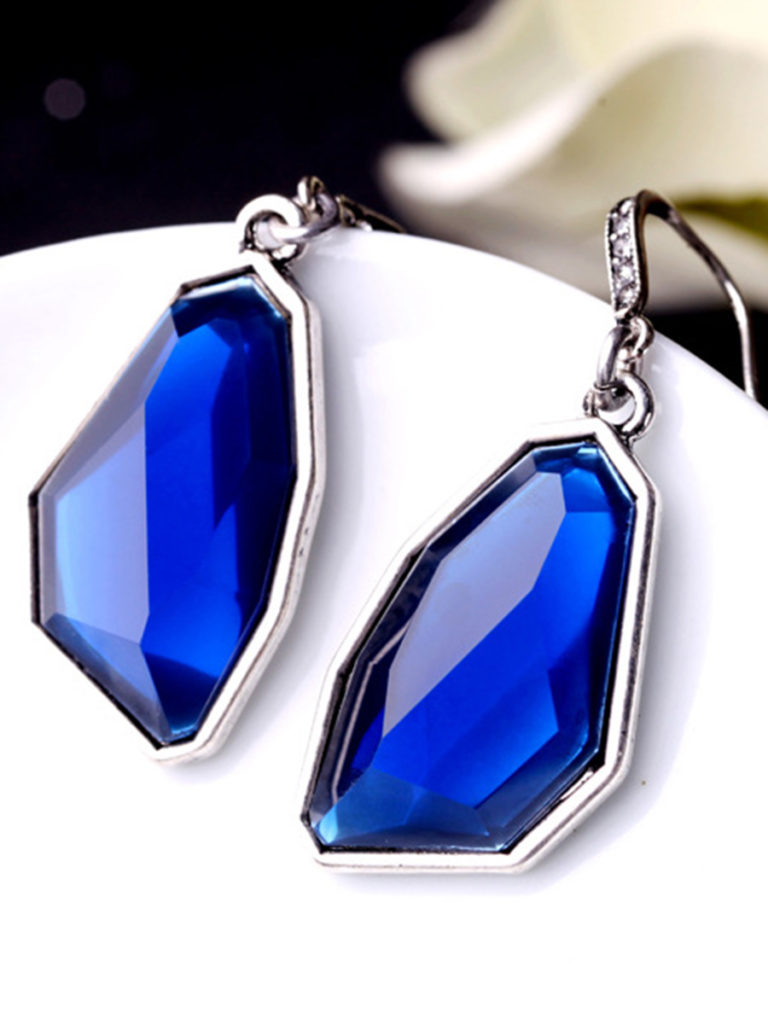 Geometric-Shaped Faux Crystal Drop Earrings