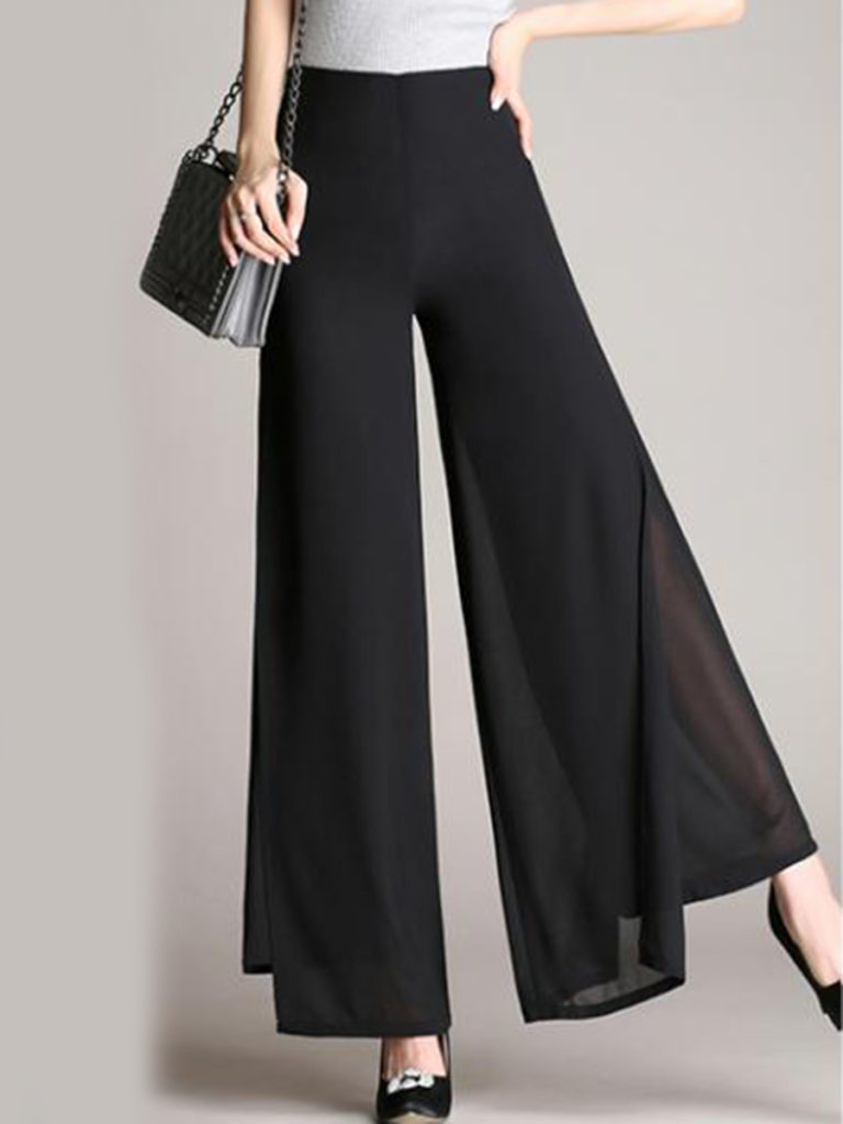 c457b0531e Solid Double Layer Chiffon Wide-Leg Casual Pants