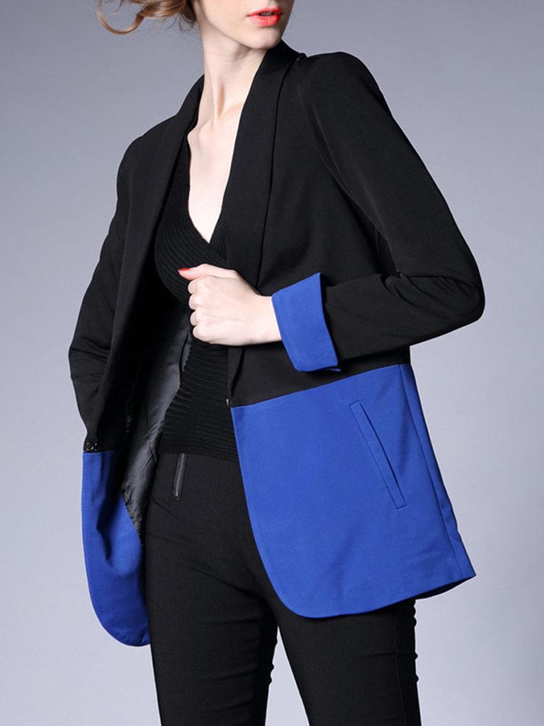 Notch Lapel Color Block Long Sleeve Blazers