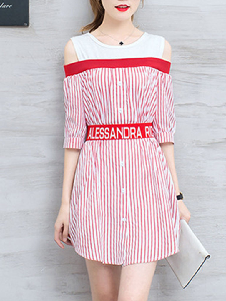 Round Neck Belt Striped Raglan Sleeve Shift Dress