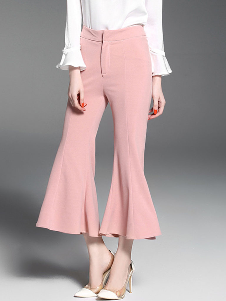 Casual Plain Cropped Flared Pants
