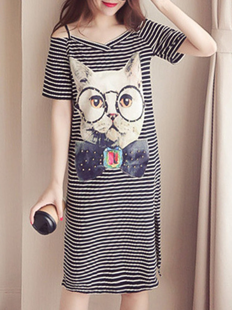 Spaghetti Strap Patch Pocket Animal Prints Shift Dress