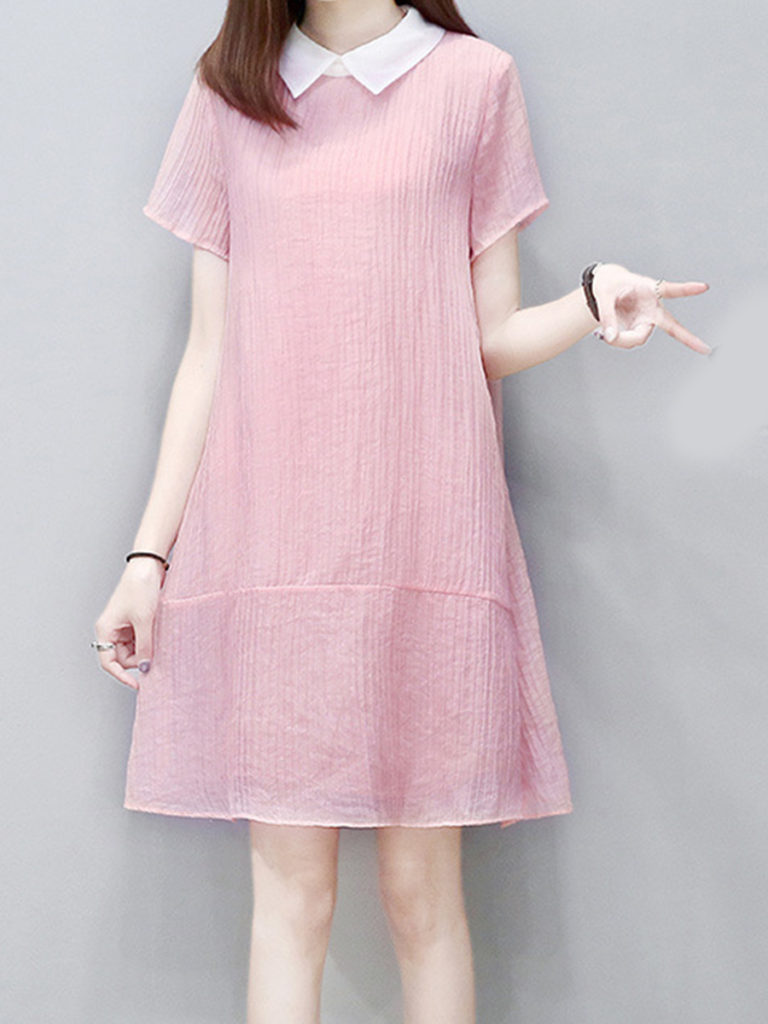 Doll Collar Plain Shift Dress