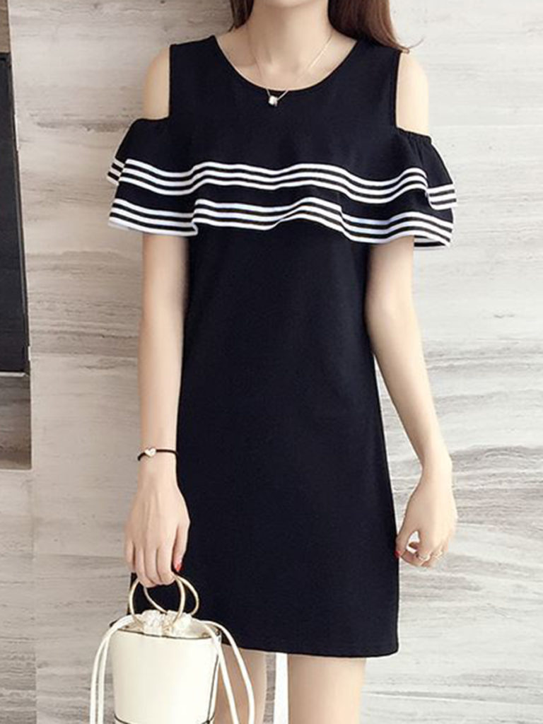 Open Shoulder Contrast Trim Plain Shift Dress