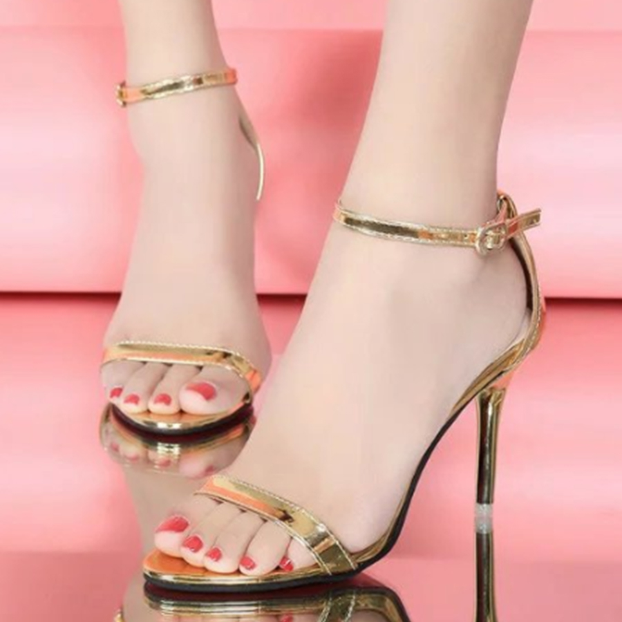 Plain Stiletto High Heeled Ankle Strap Peep Toe Date Event Sandals