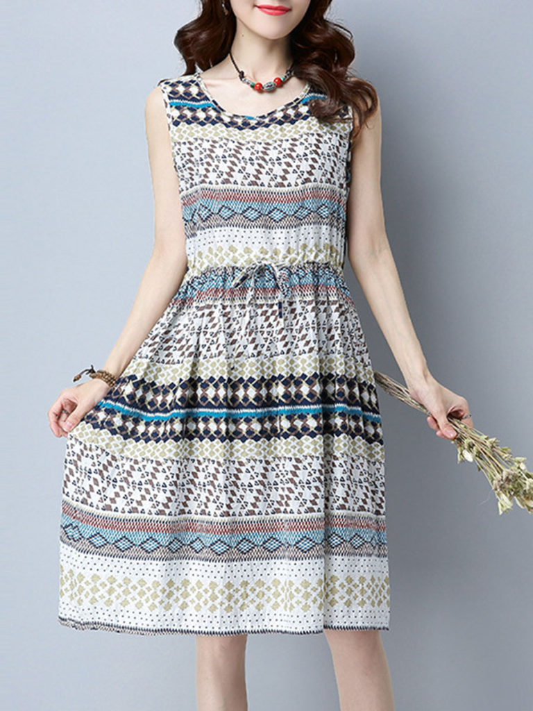 Drawstring Printed Round Neck Skater Dress
