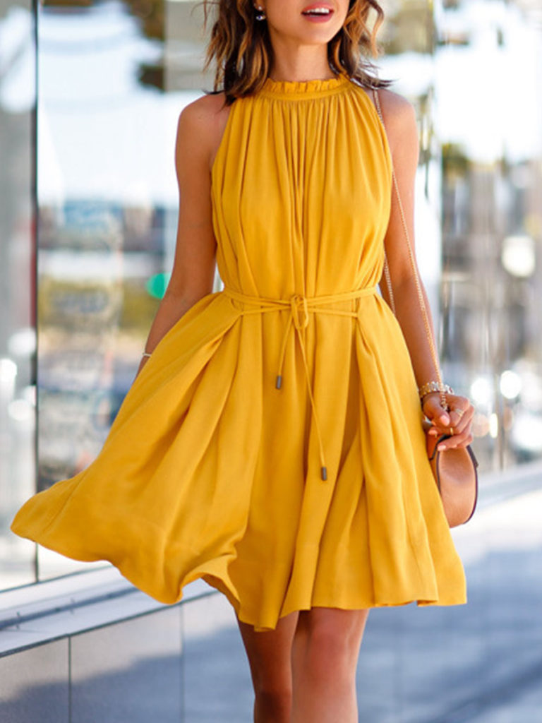 Round Neck Sleeveless Plain Skater Dress