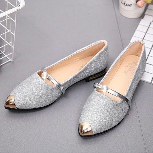 Color Block Flat PU Point Toe Casual Flat & Loafers