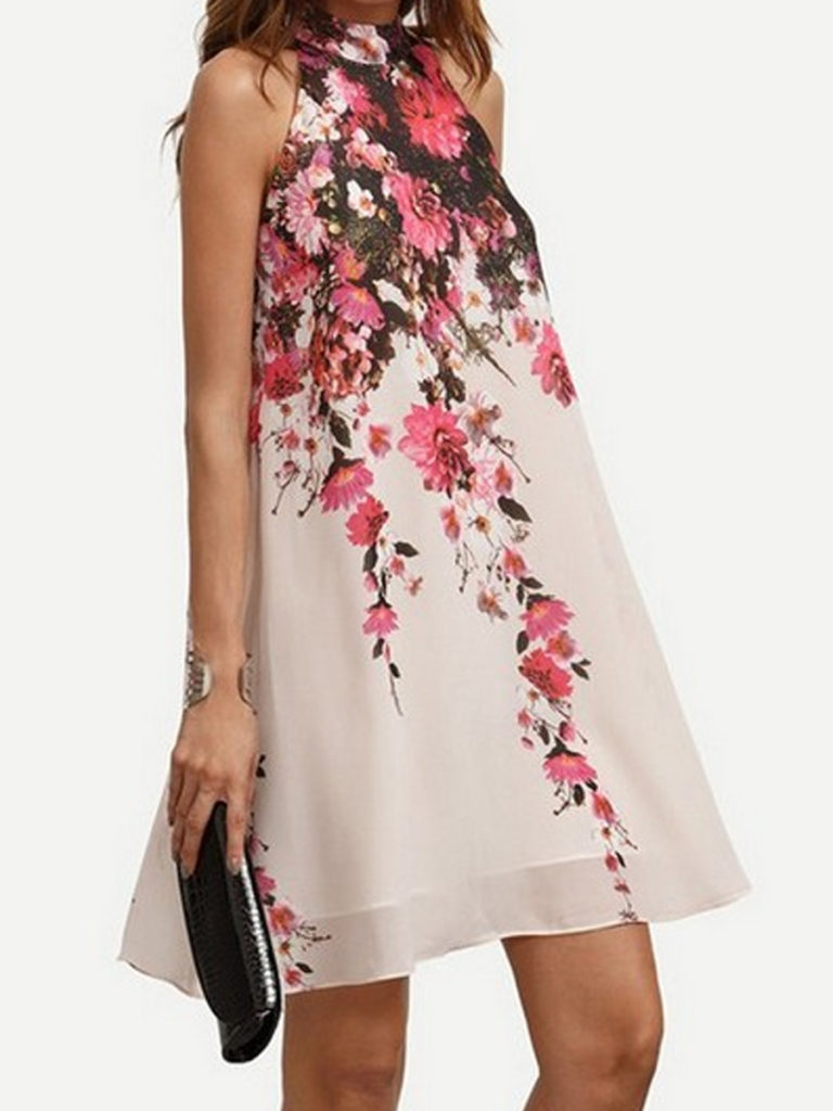 Crew Neck Floral Printed Shift Dress