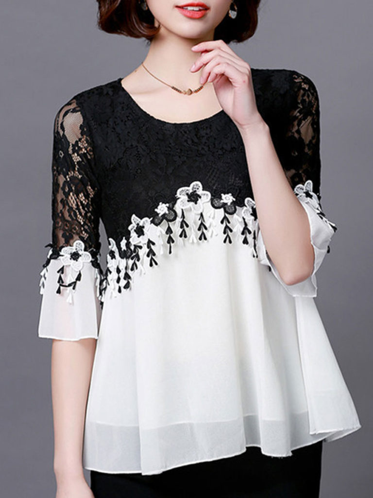 Round Neck Polyester Patchwork See-Through Lace Sleeve Three-Quarter Blouses