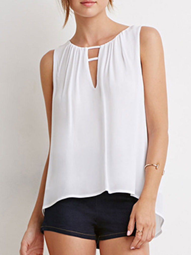 Summer Polyester Women Asymmetric Neck Asymmetric Hem Plain Sleeveless T-Shirts