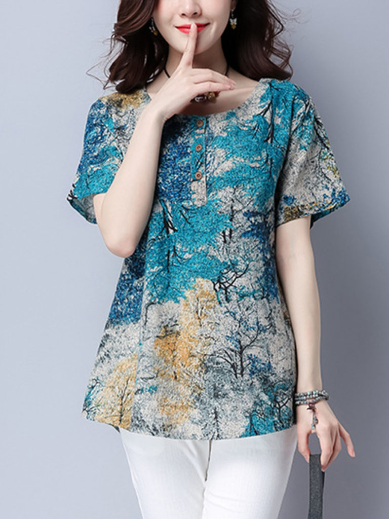 Casual Round Neck Trees Printed Blouse