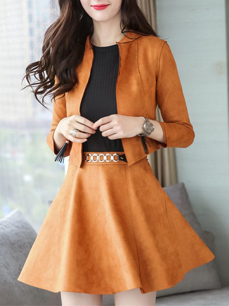 Plain Band Collar Tassel Zips Jacket And Flared Skirt
