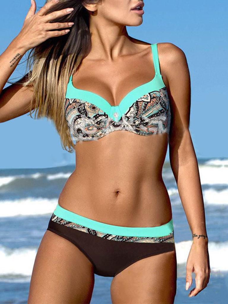 Plus Size Push Up Backless Mid-Rise Bikini