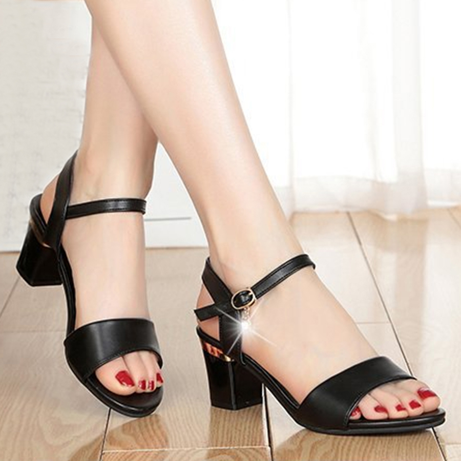 Chunky Mid Heeled Ankle Strap Peep Toe Date Office Sandals