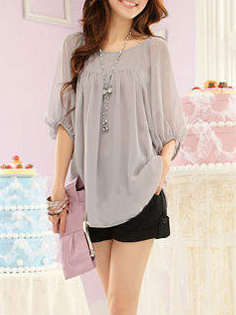Spring Summer Chiffon Women Round Neck Plain Three-Quarter Sleeve Blouses