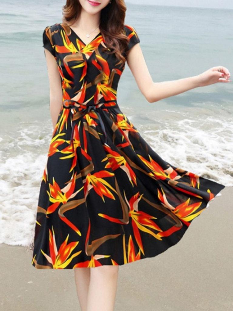 V Neck Floral Printed Skater Dress