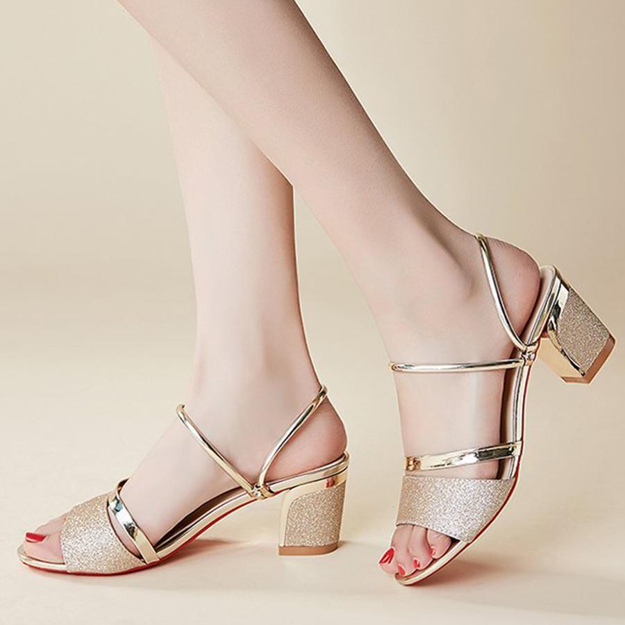 dbfc0425ca5b Plain Chunky High Heeled Peep Toe Casual Date Sandals