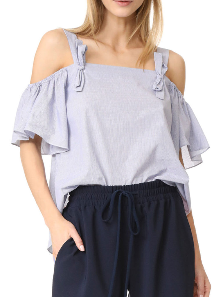 Summer Polyester Women Open Shoulder Flounce Striped Short Sleeve Blouses