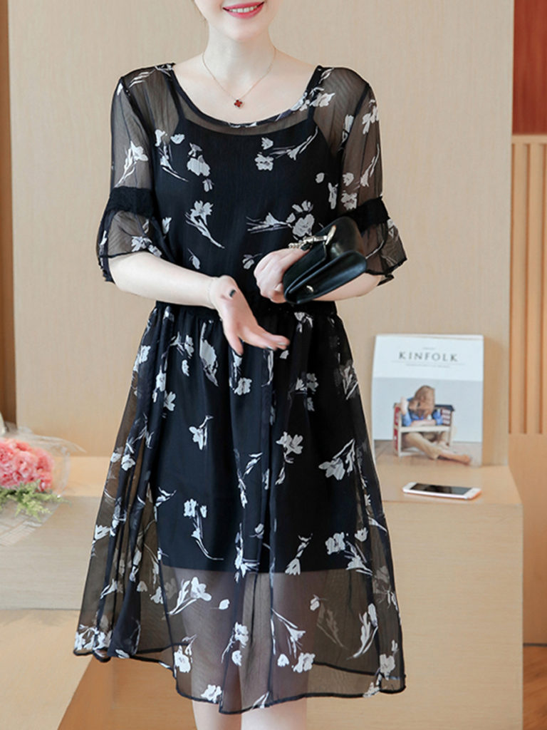 Round Neck Floral Printed Bell Sleeve Skater Dress