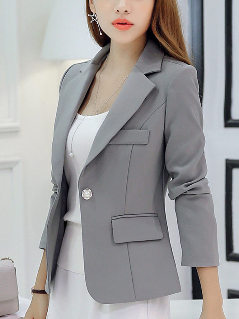 Notch Lapel Flap Pocket Single Button Plain Blazers