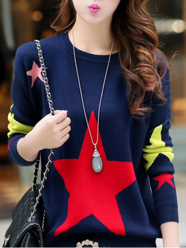 Round Neck Color Block Star Pullover