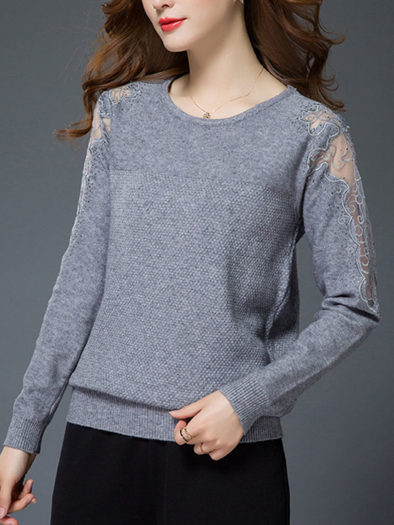 Round Neck Patchwork See Through Plain Pullover