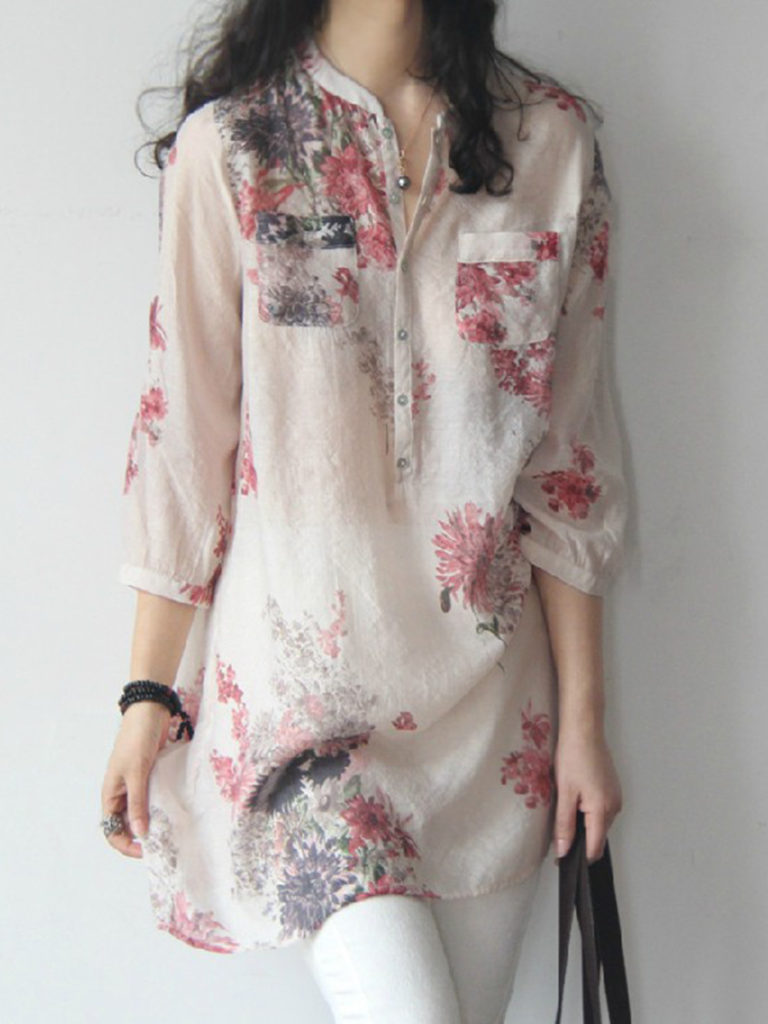 Band Collar Decorative Buttons Patch Pocket Floral Printed Blouses
