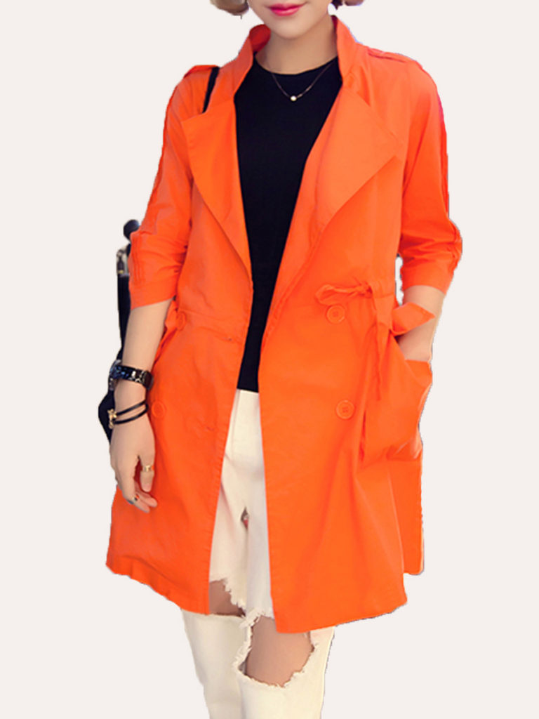 Drawstring Plain Three-Quarter Sleeve Trench Coats