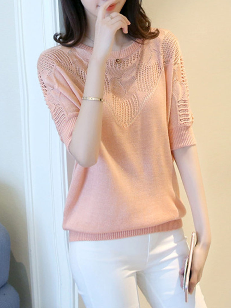 Round Neck Cutout Patchwork Plain Batwing Sleeve Pullover