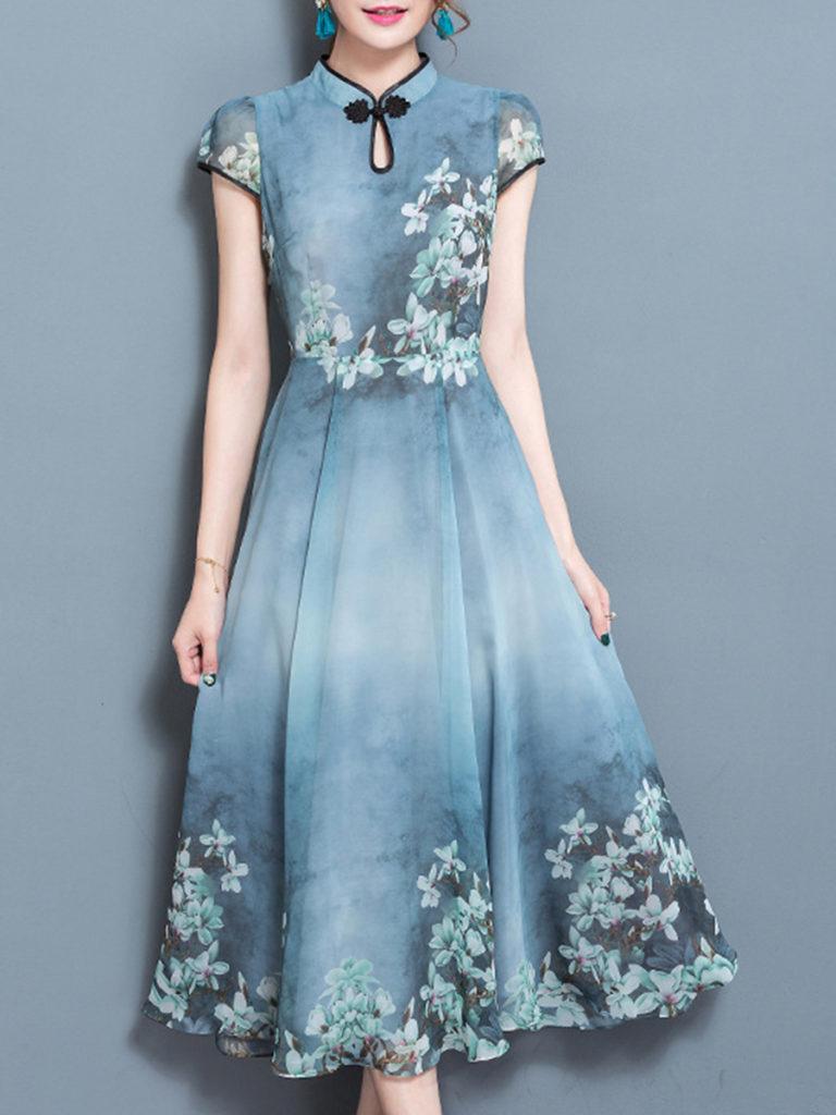Crew Neck Single Button Floral Printed Maxi Dress