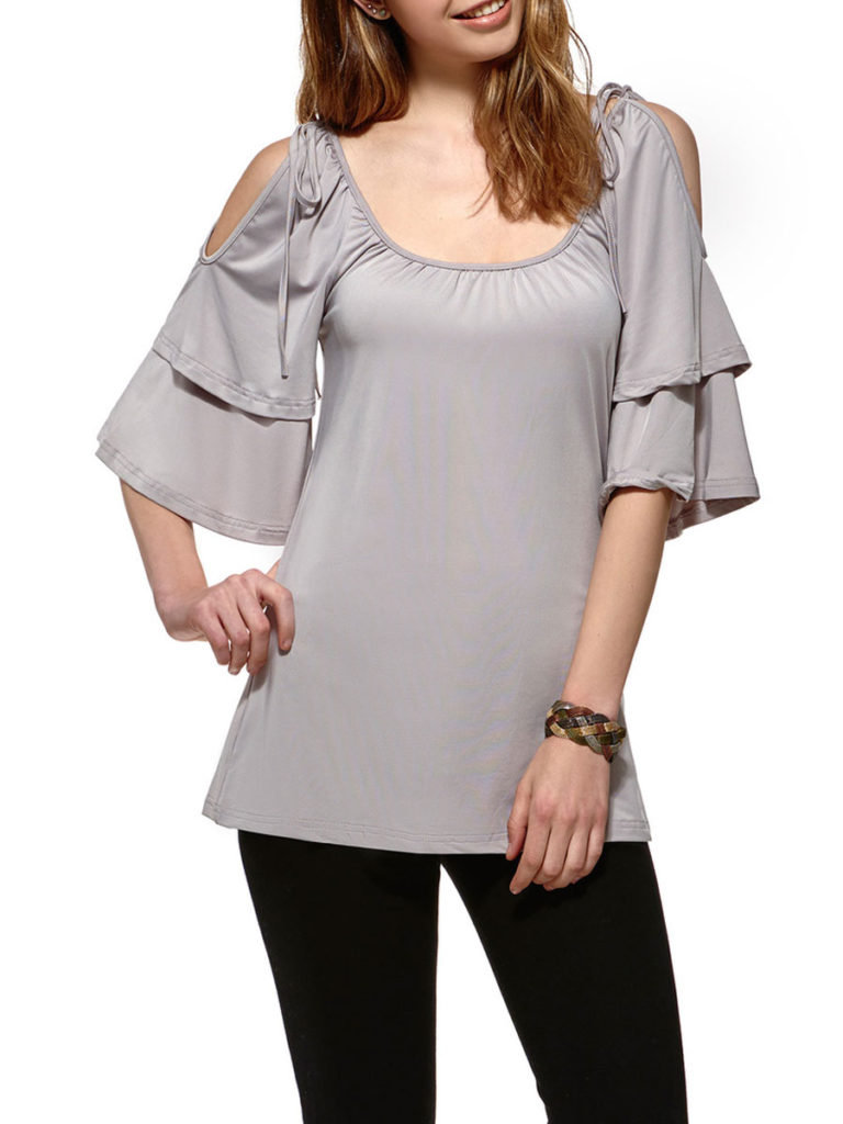 Summer Polyester Women Open Shoulder Plain Bell Sleeve Short Sleeve T-Shirts