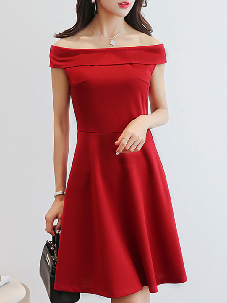 Off Shoulder Ruffled Hem Plain Skater Dress