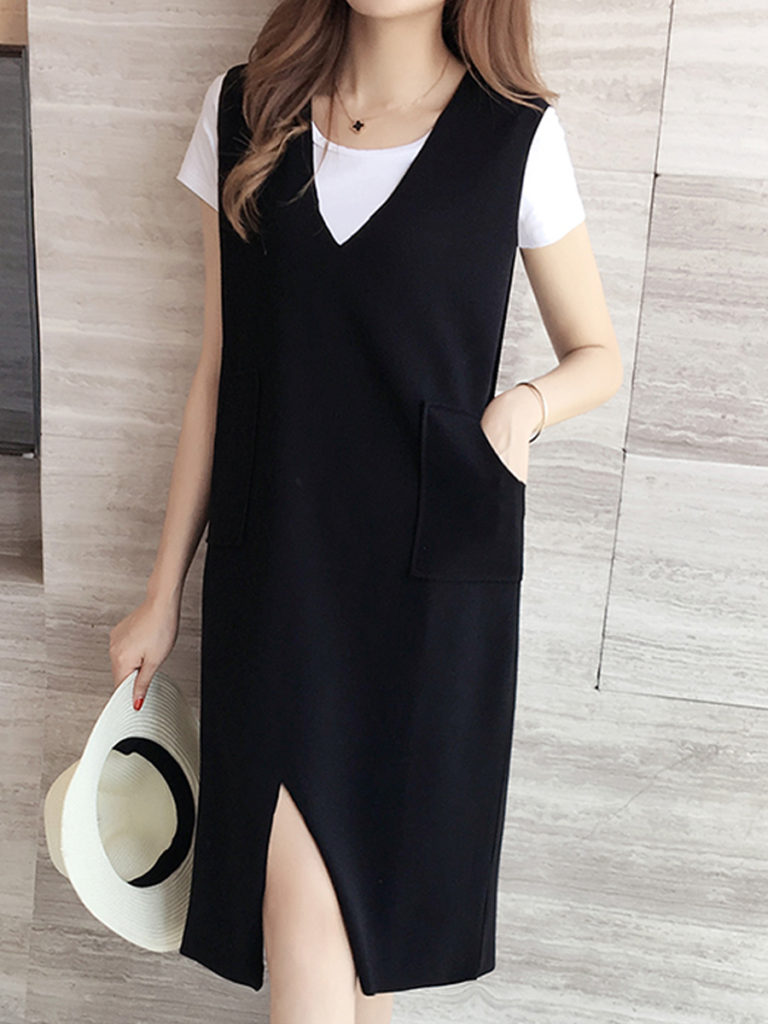 V Neck Patch Pocket Plain Shift Dress