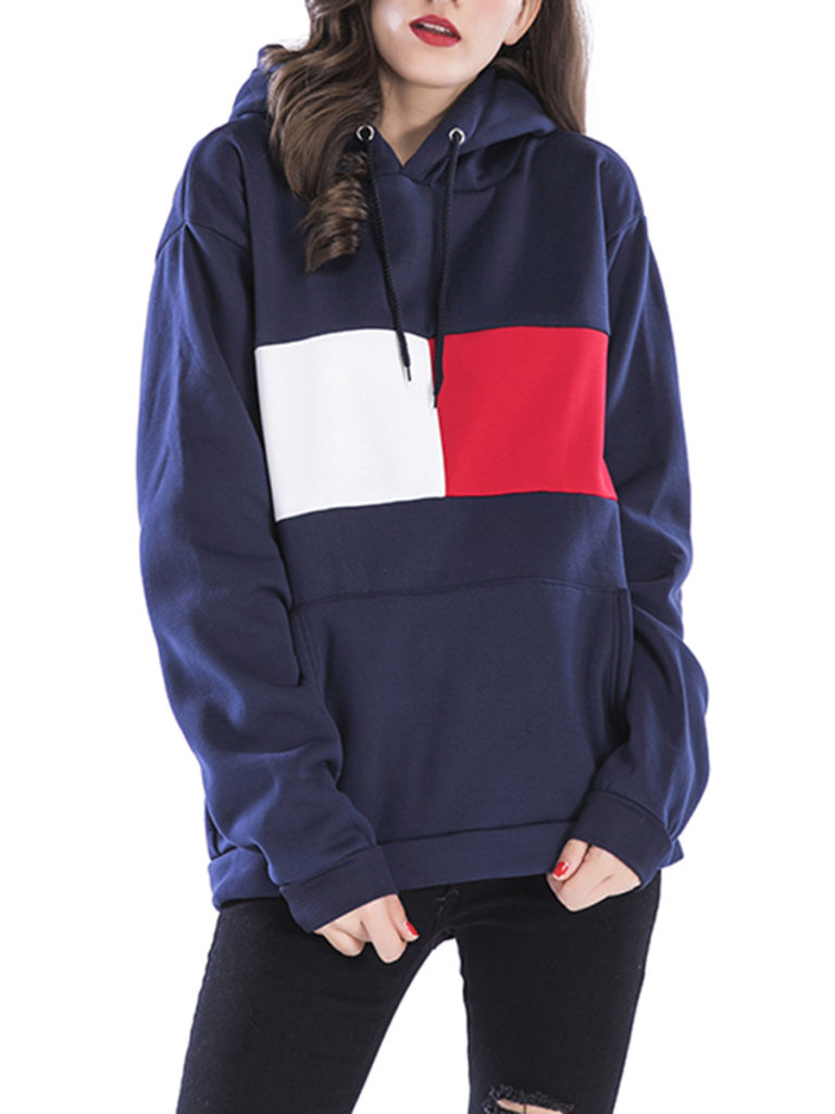Loose Kangaroo Pocket Color Block Hoodie