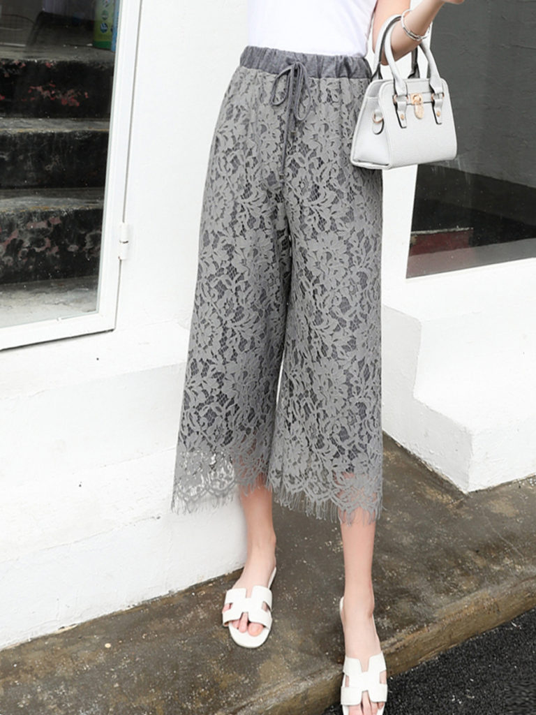 Solid Lace Hollow Out Plain Wide-Leg Cropped Pants