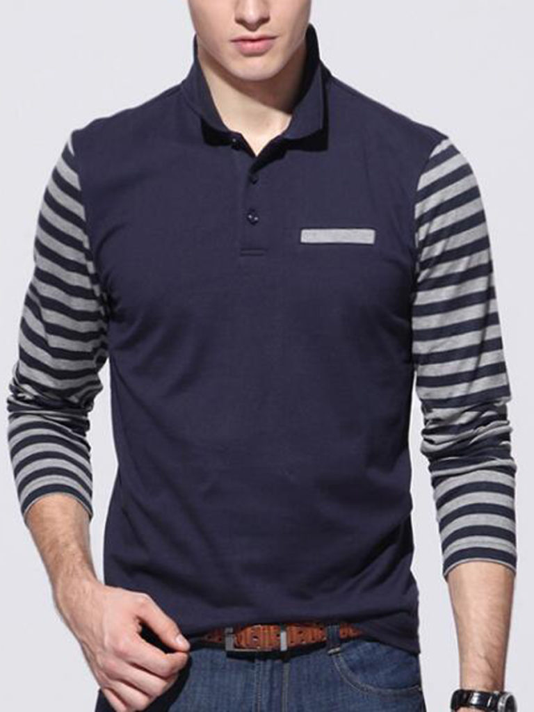 Men Polo Collar Striped Long Sleeve T-Shirt