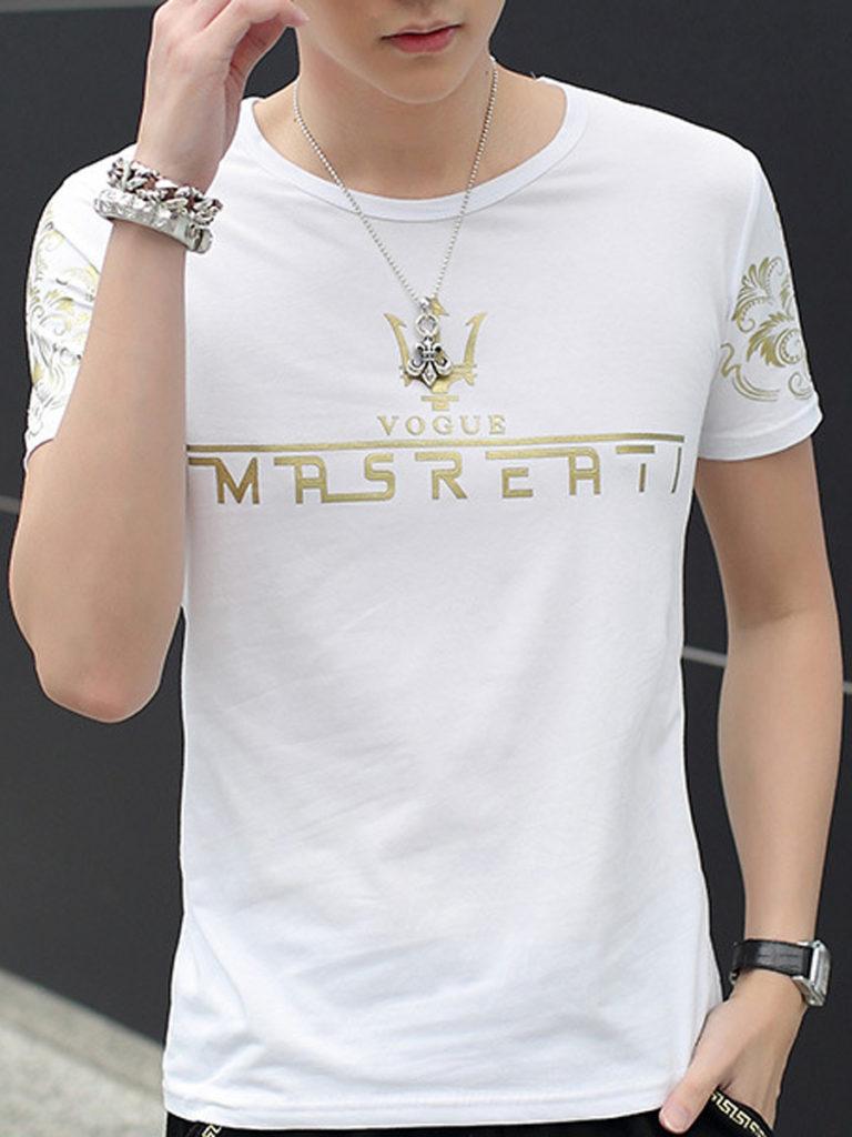 Round Neck Printed Men Short Sleeve T-Shirt