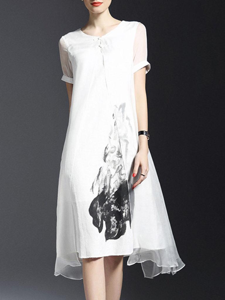 Round Neck Slit Floral Printed Maxi Dress