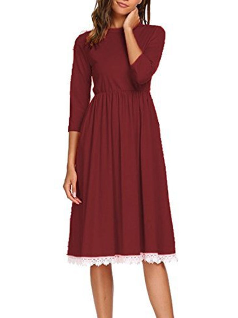 Round Neck Patch Pocket Maxi Dress