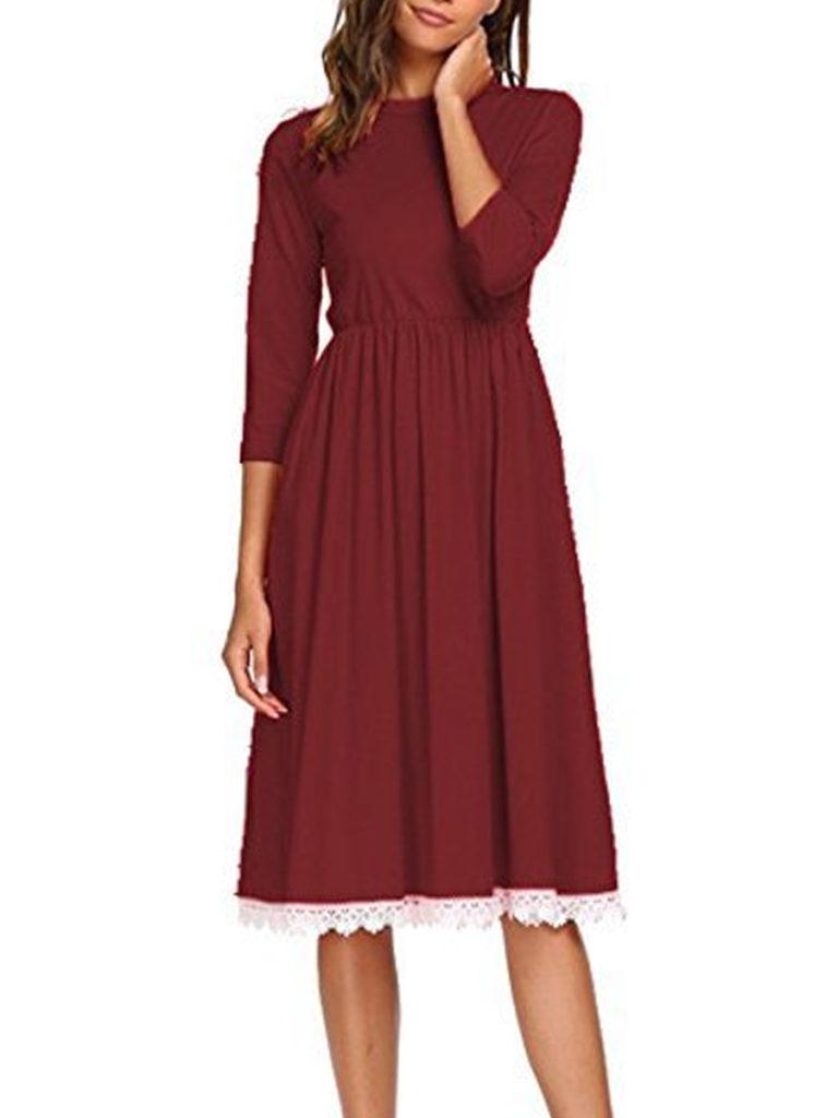 Round Neck Patch Pocket Maxi Dress