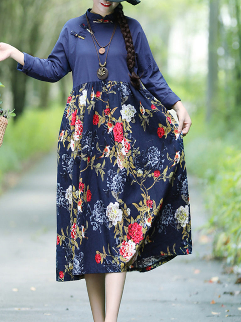 Band Collar Floral Printed Maxi Dress