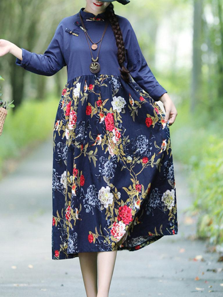 Band Collar Floral Printed Maxi Dress