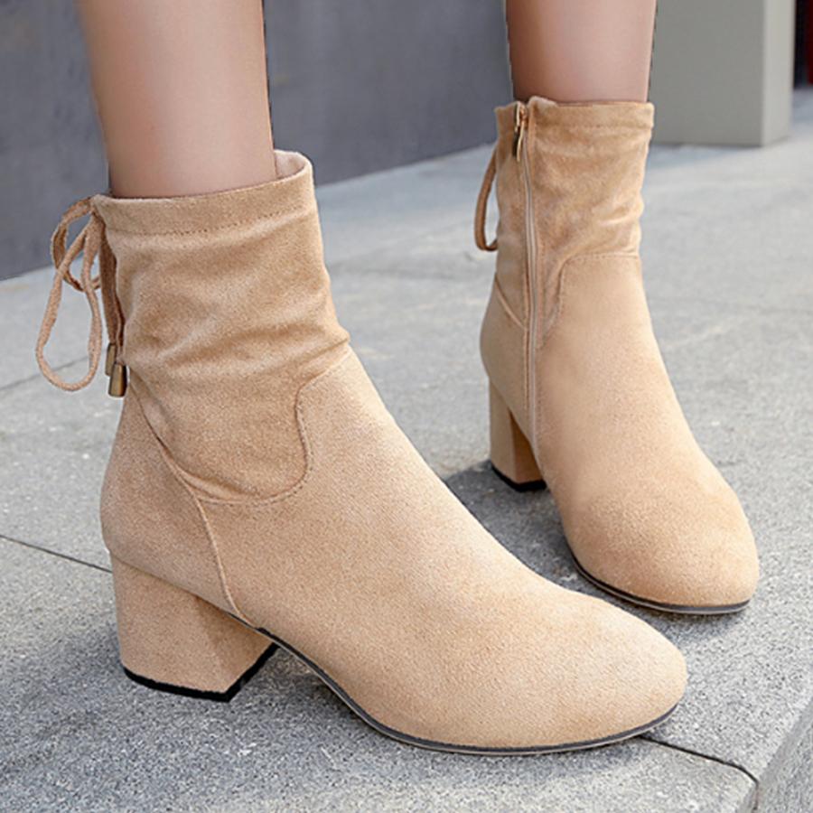 Plain Chunky High Heeled Velvet Round Toe Date Office High Heels Boots