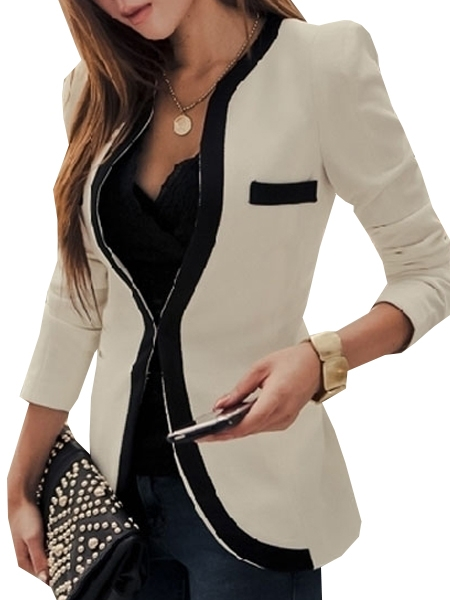 Appealing Band Collar Assorted Color Blazer