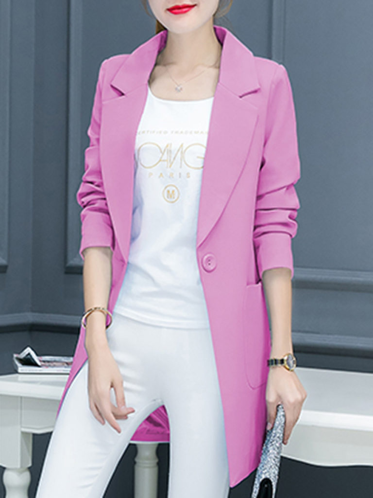 Longline Notch Lapel Patch Pocket Single Button Plain Blazer