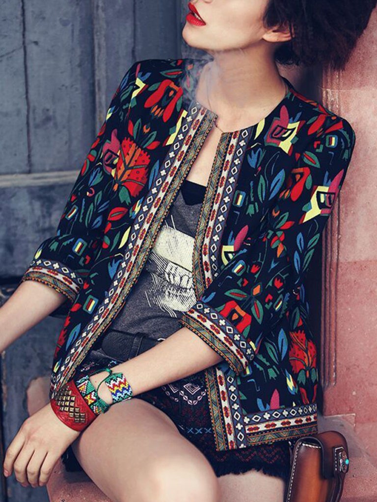 Collarless Contrast Trim Print Blazers