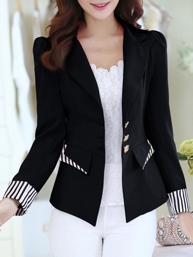 Notch Lapel Single Breasted Striped Cuff Blazer