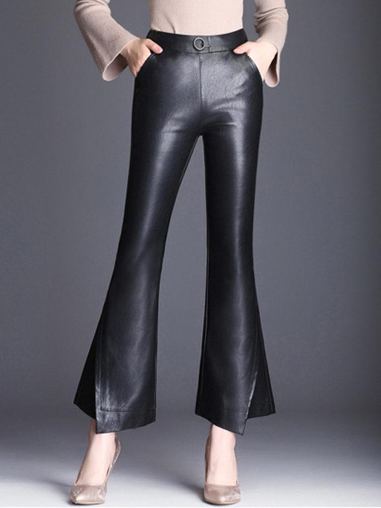 Black Elastic Waist PU Leather Flared Pants